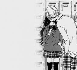 аниме, чёрно-белое, пара