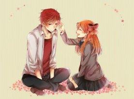 аниме, парень, цветы, девушка